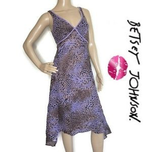 Betsey Johnson animal print purple and brown dress